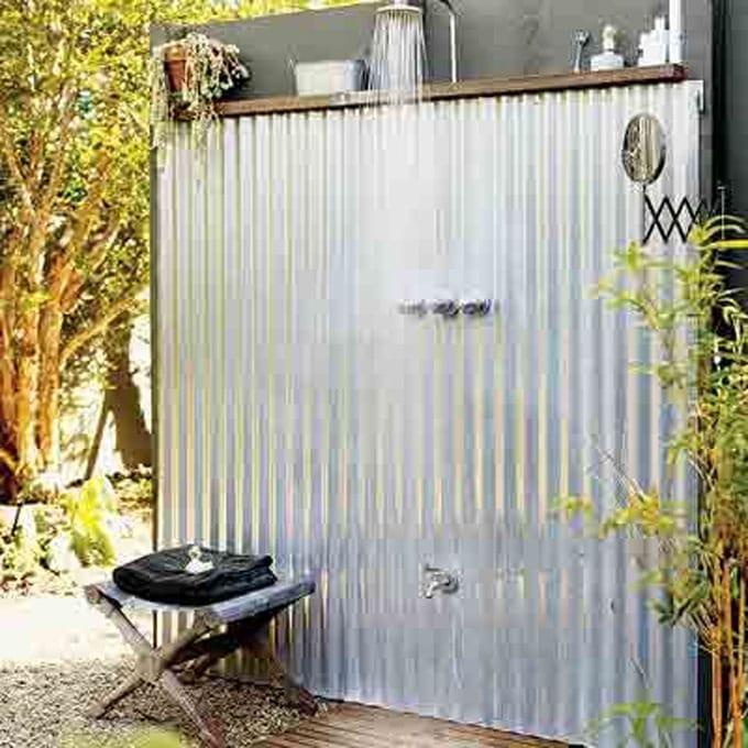 corrugate galvanized metal and wood garden shower