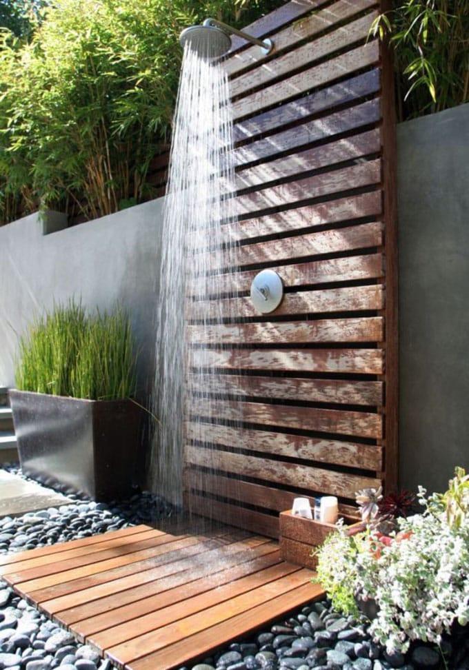 modern concrete and wood garden shower