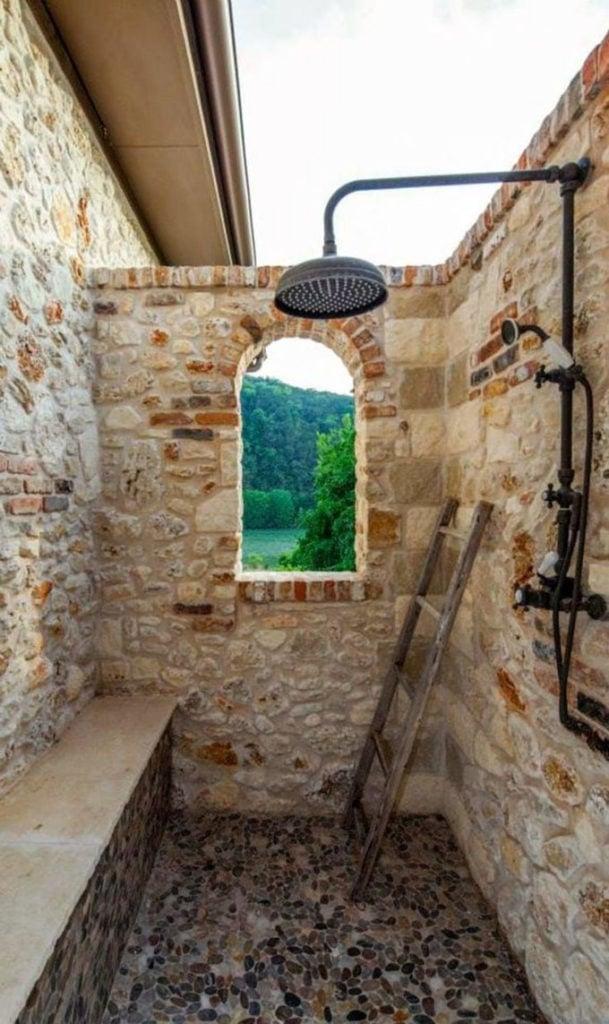 Stone garden shower
