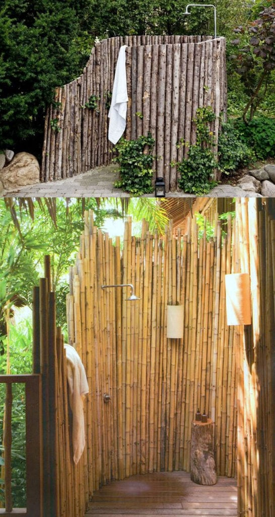 Build an Outdoor Shower with logs and poles