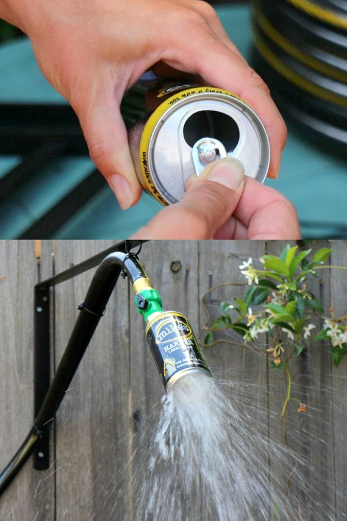 Creative Outdoor Shower Fixtures using cans