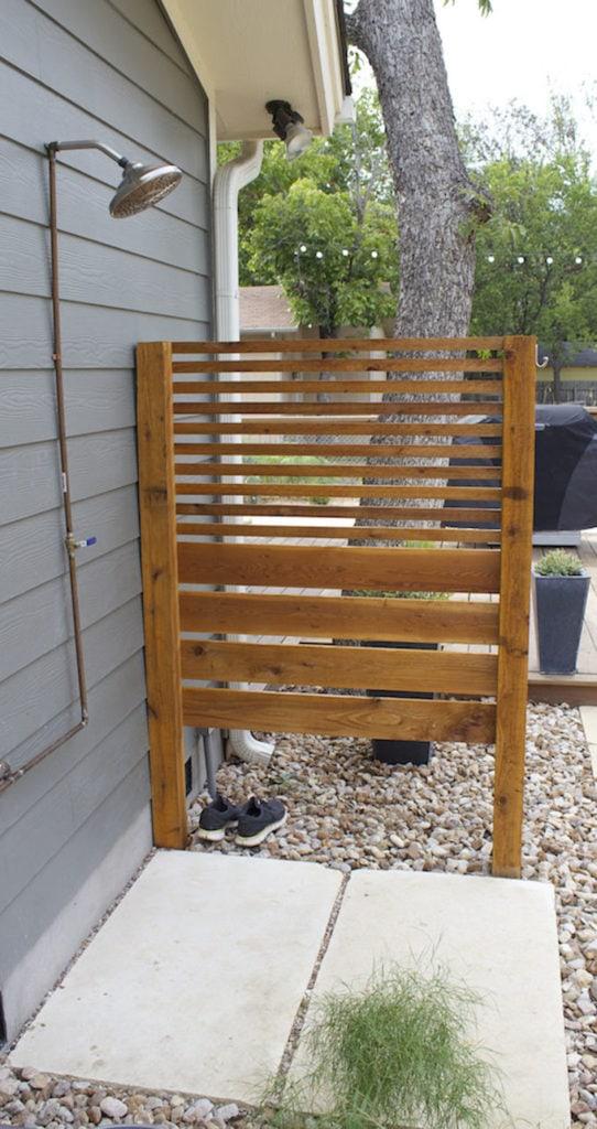 Wood slats DIY Outdoor Shower Enclosure