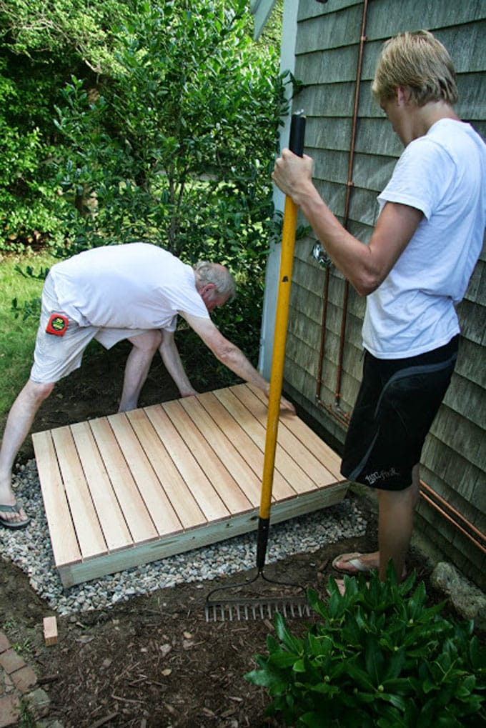 how to build a wood platform for a garden shower