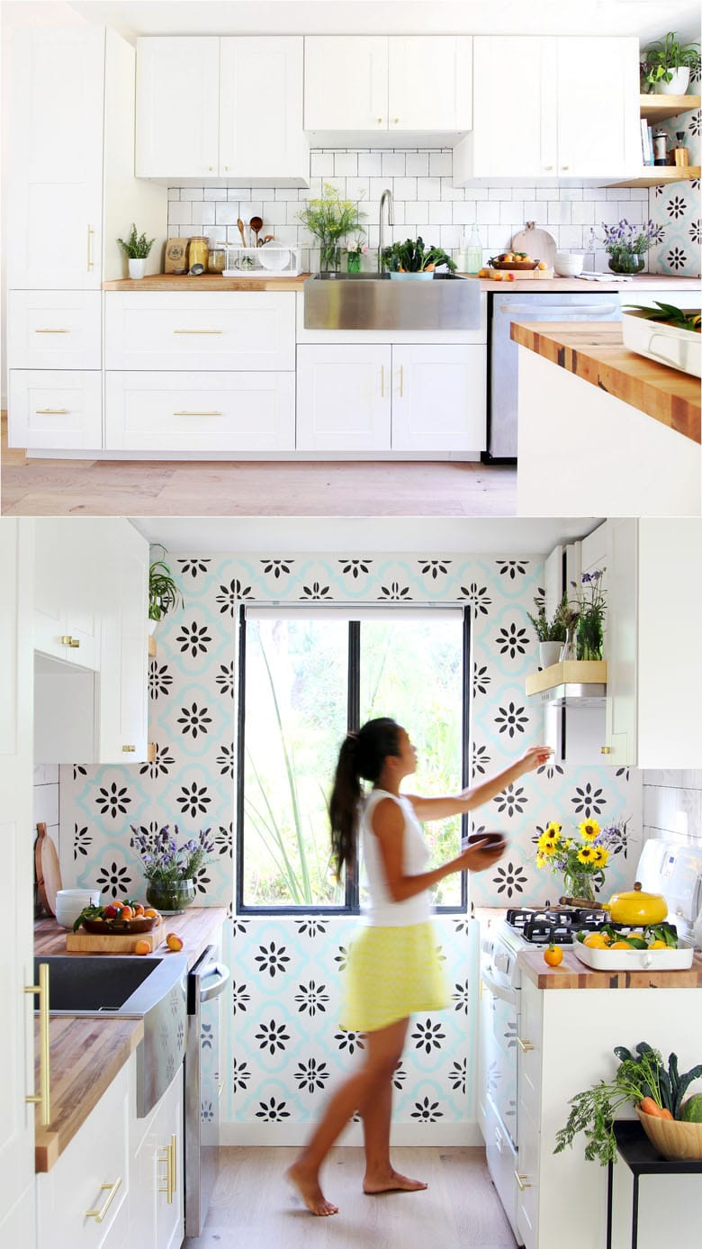 DIY modern colorful farmhouse kitchen remodel before & after with IKEA kitchen cabinets , farmhouse sink, butcherblock counter top