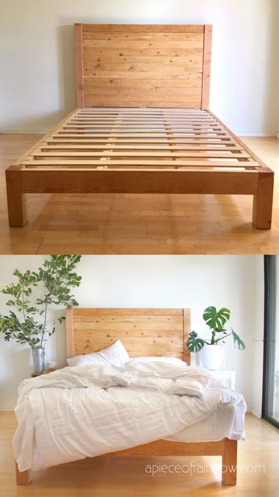 Picture of: Diy Bed Frame Wood Headboard 1500 Look For 100 A Piece Of Rainbow