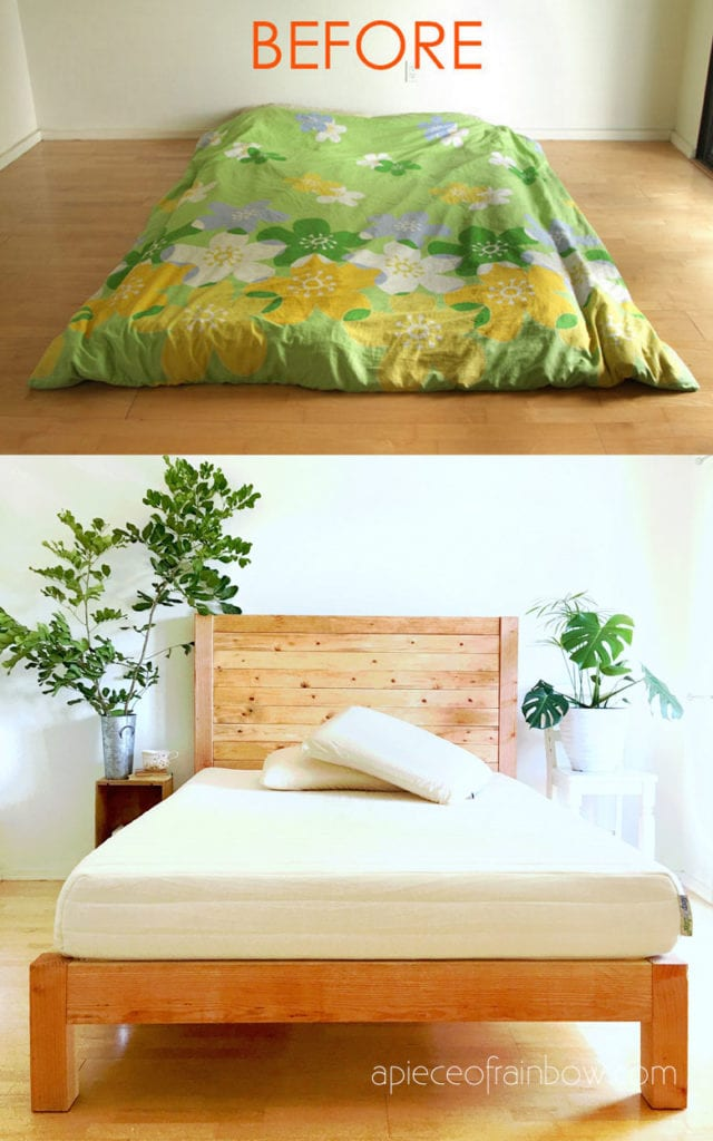 DIY bed frame & wood headboard with natural finishes