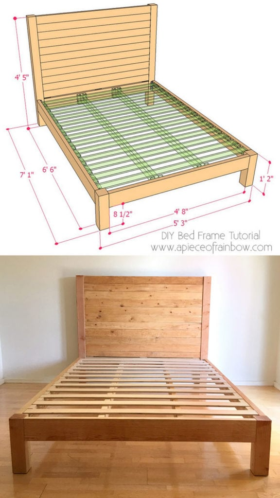 free building plan for wood bed frame & headboard