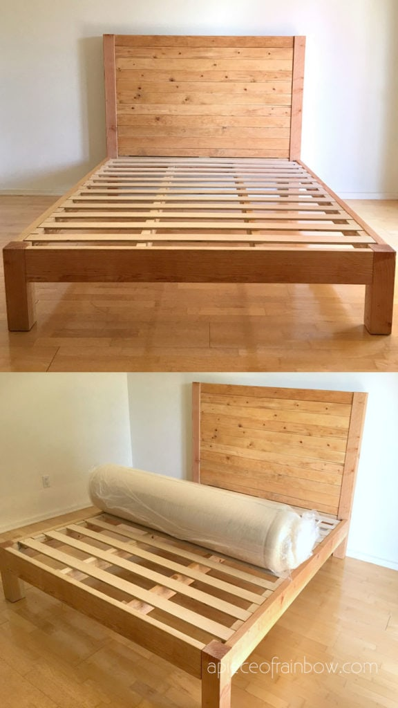 how to build wooden bed frame & wood headboard   for king, queen or full bed size