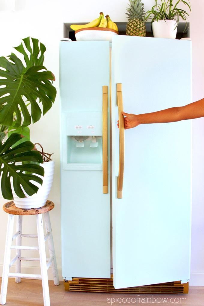 boho style room with anthropologie style mint fridge inspired by SMEG fridge