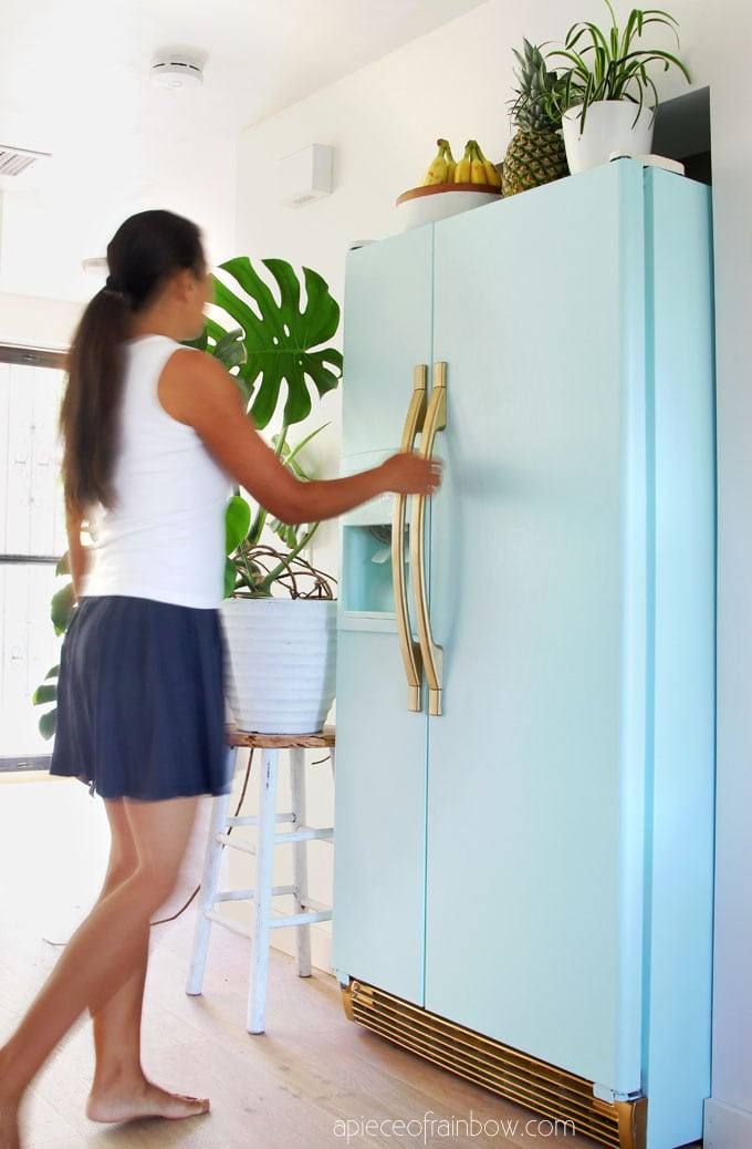 anthropologie boho style mint colored fridge inspired by smeg fridge