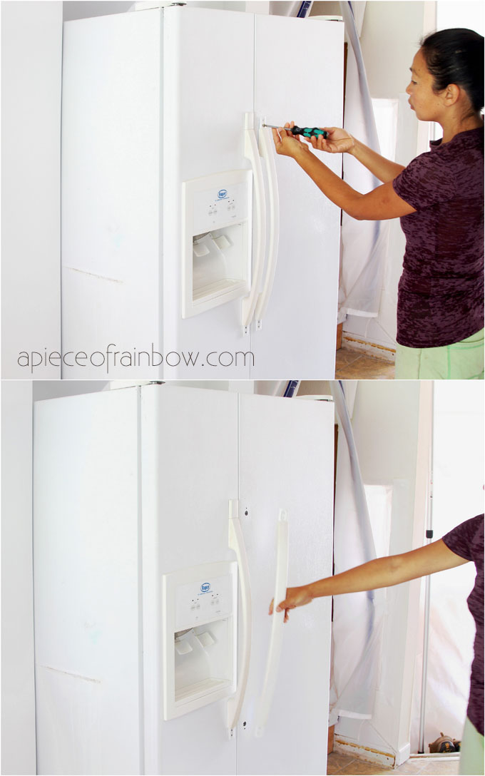 how to paint a fridge: start by removing door handles