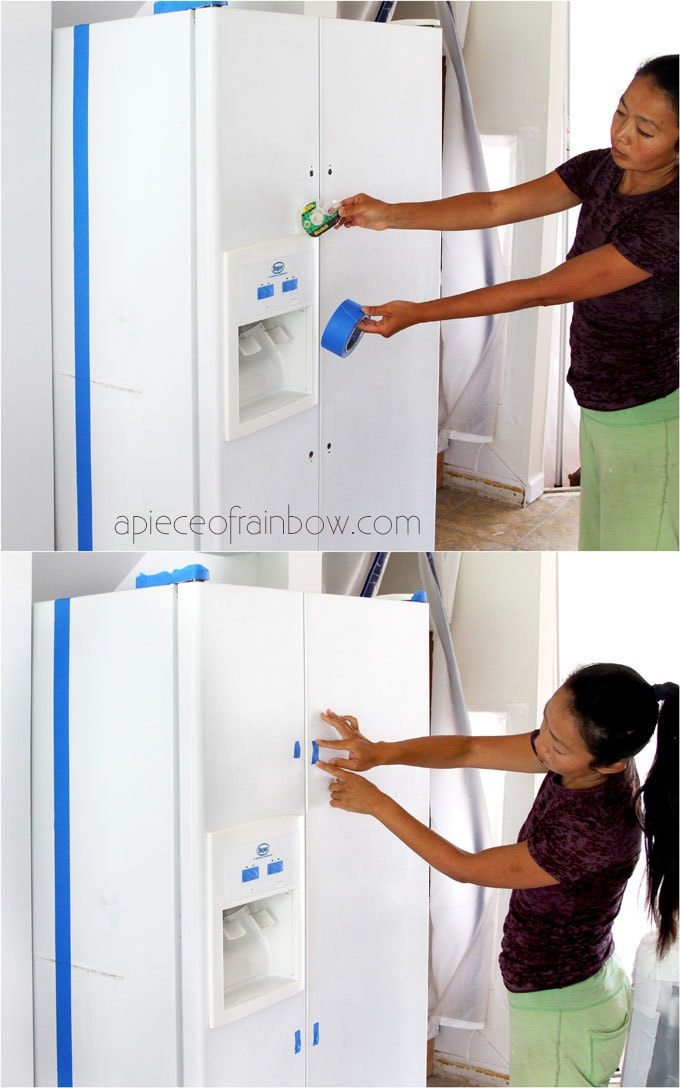 tape areas before painting a fridge