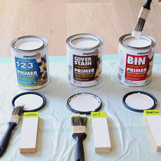 paint primer test comparing shellac based primer vs water based latex primer vs oil based painting primers, shown here Zinsser 123, Cover Stain & BIN primer