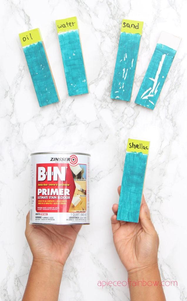 paint primer test Zinsser BIN primer which is a shellac primer