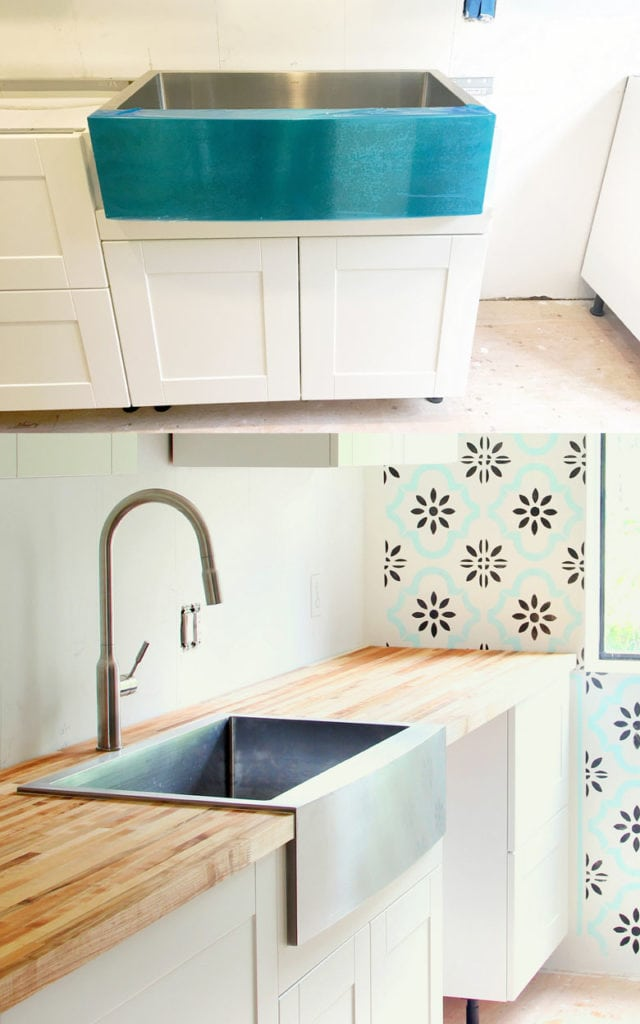 installing top mount farm sink on butcher block countertop in ikea kitchen