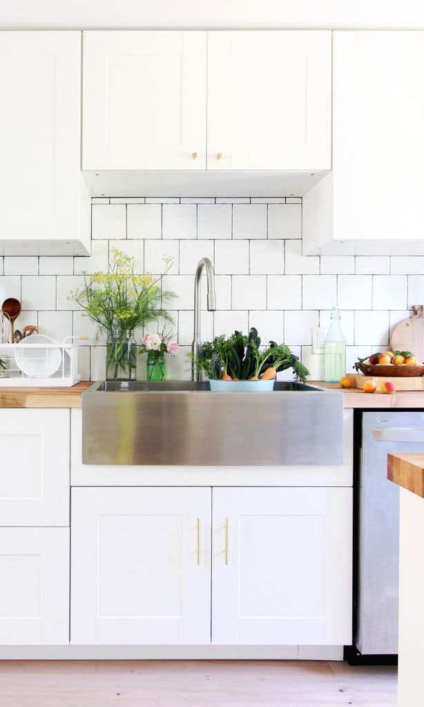 top mount one bowl stainless steel farmhouse sink and faucet in modern farmhouse ikea kitchen
