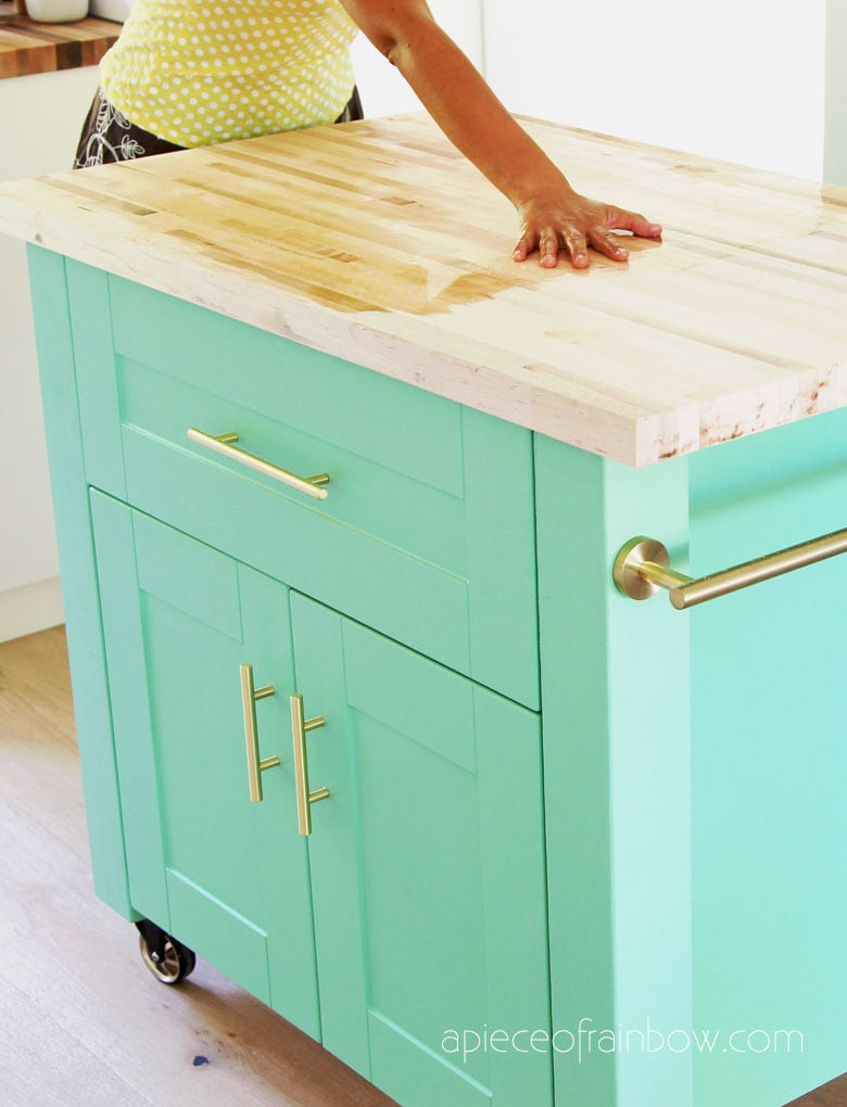 season butcher block countertop with mineral oil