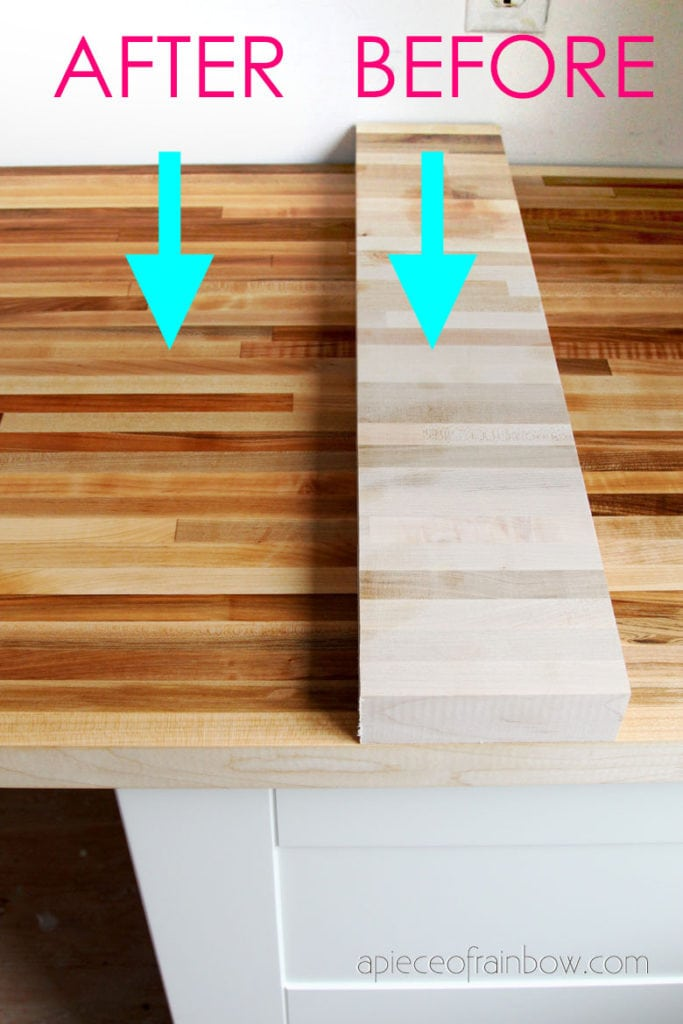 before after comparison when using cutting board oil and beeswax conditioner on butcher block