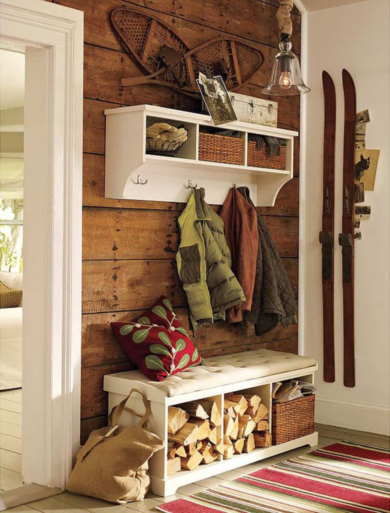 Indoor firewood storage bench farmhouse style