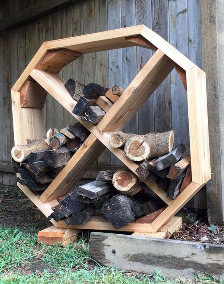 Modern geometric DIY firewood storage shelf