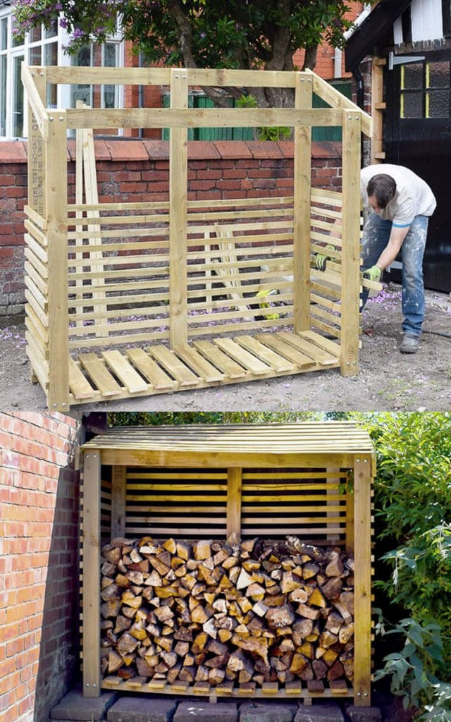 DIY Covered outdoor firewood storage rack