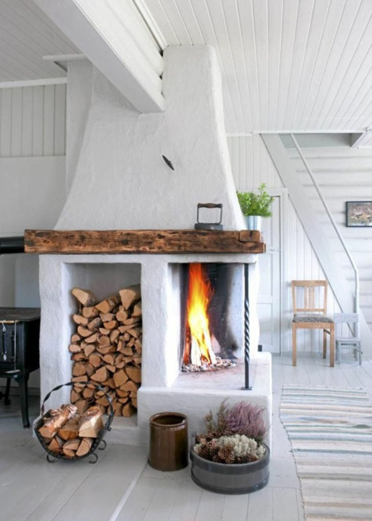 Farmhouse indoor firewood storage ideas