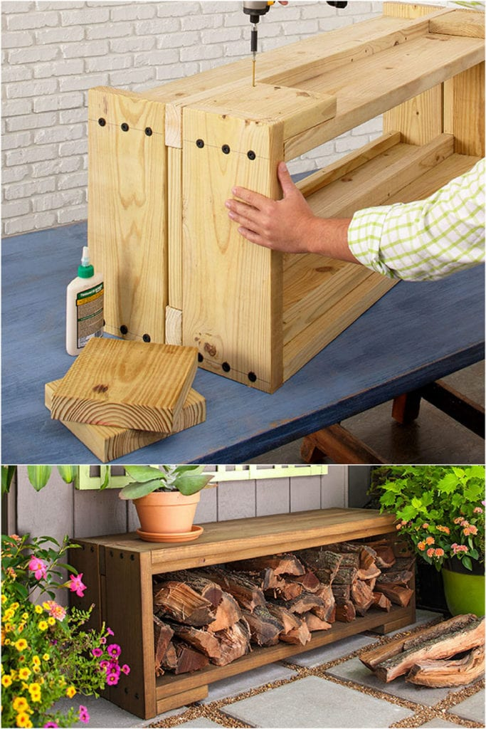 how to build Outdoor firewood storage bench