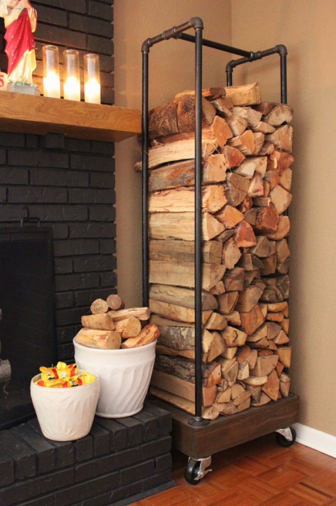 Easy DIY indoor firewood rack with pipes