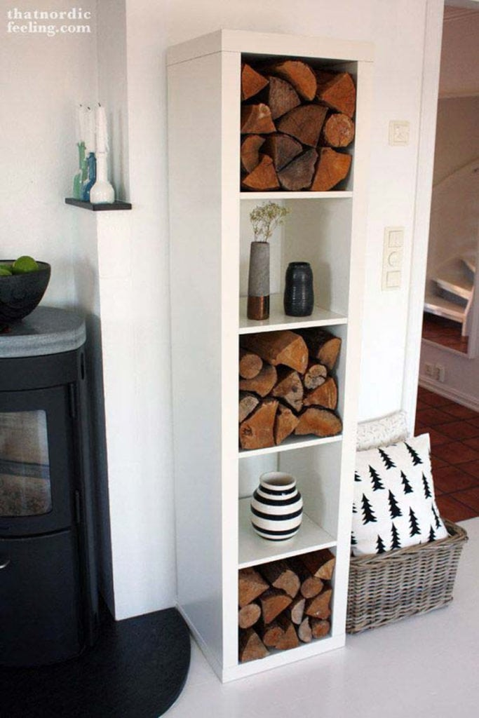 display shelf for indoor firewood storage
