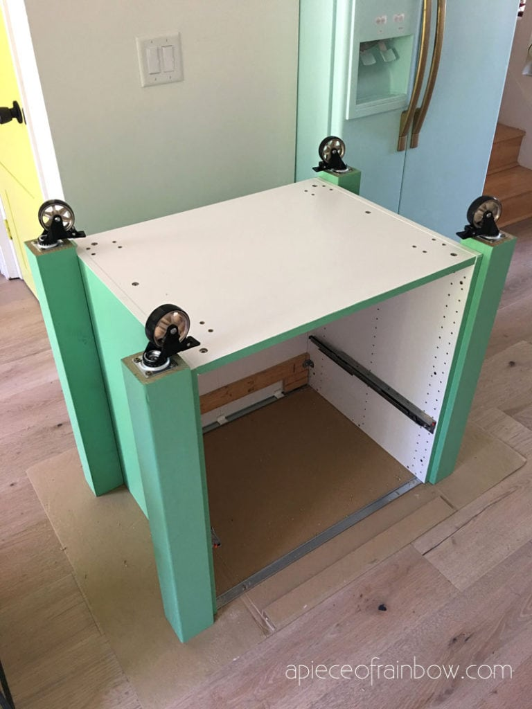 add wheels to DIY kitchen island