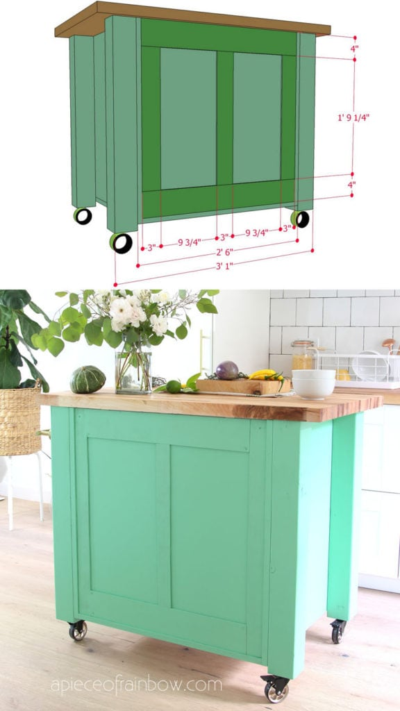 back side of DIY kitchen island