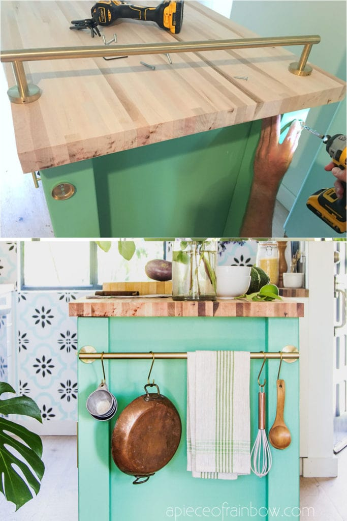 colorful farmhouse DIY kitchen cart on wheels with towel bar hanging rail