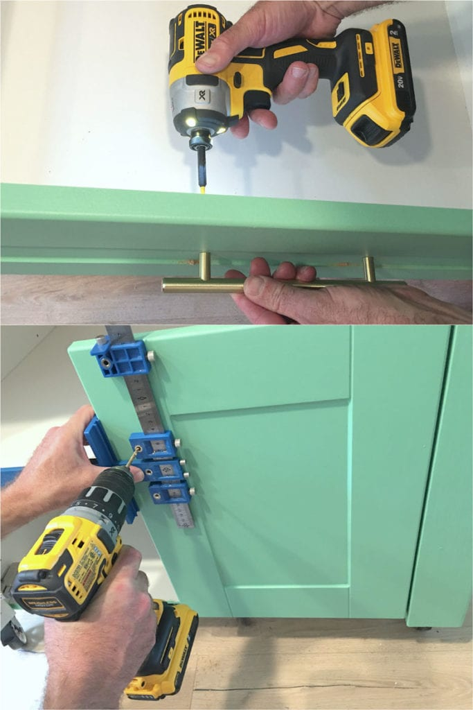 install hardware on cabinet, using jig