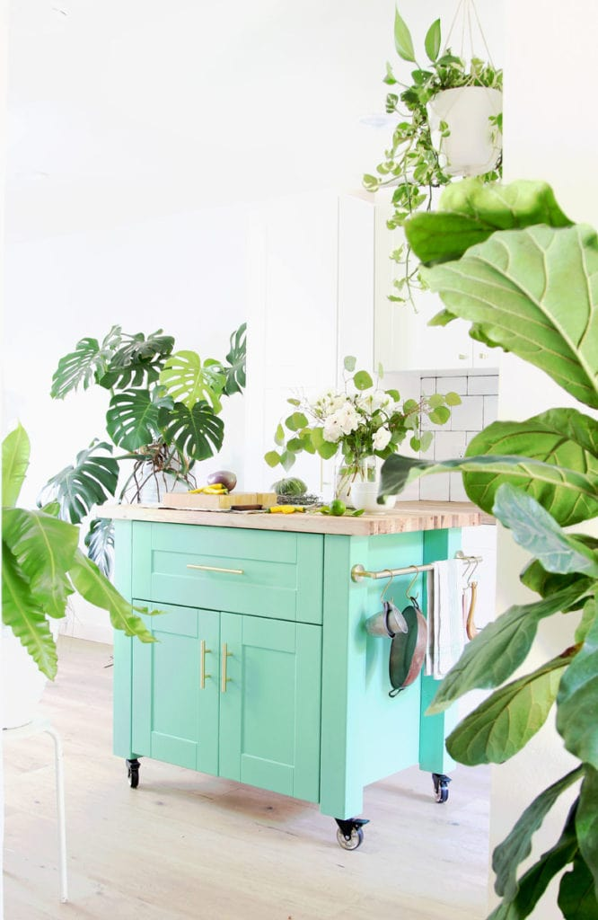 beautiful modern farmhouse kitchen with bohemian style colorful DIY kitchen island, portable kitchen cart on wheels with hanging rail, flowers