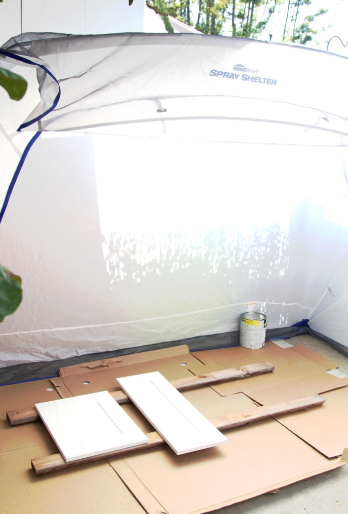 set up paint spray shelter
