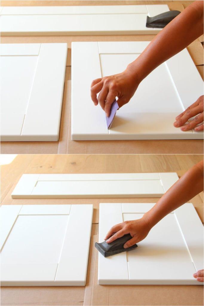 sanding cabinets