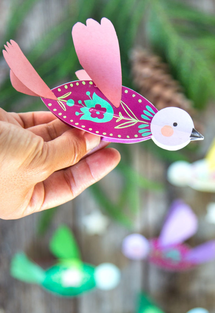 DIY 3D paper bird with folk art inspired free designs