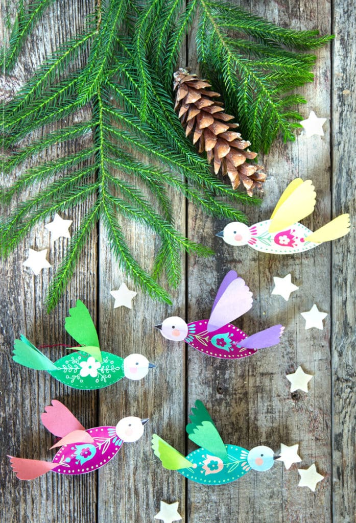 Scandinavian folk art inspired  paper birds Christmas tree ornaments