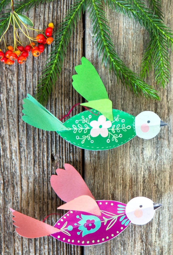 DIY 3D paper birds  easy paper crafts, beautiful Christmas ornaments & year round decorations