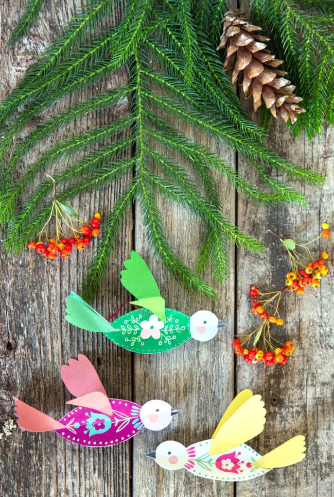 beautiful paper bird Christmas decorations