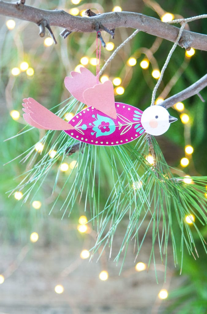 3D paper bird christmas crafts and ornaments