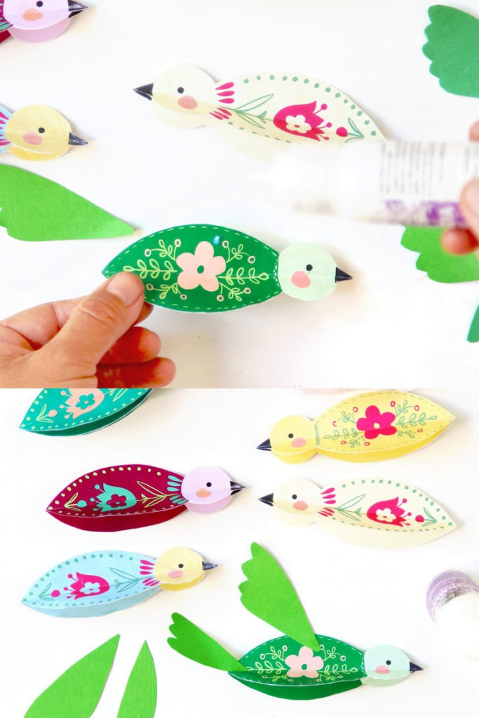 fold and glue paper birds