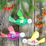 DIY 3D paper birds with Scandinavian folk art inspired free patterns, these easy paper crafts make beautiful Christmas ornaments & year round decorations