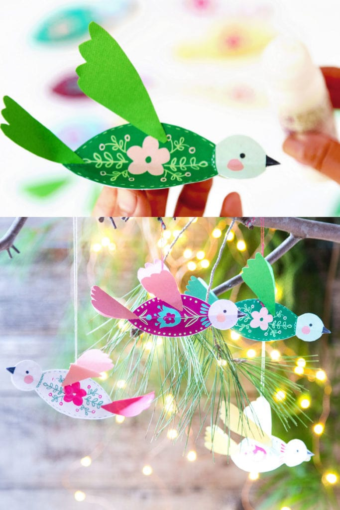 paper birds easy Christmas crafts for kids and family