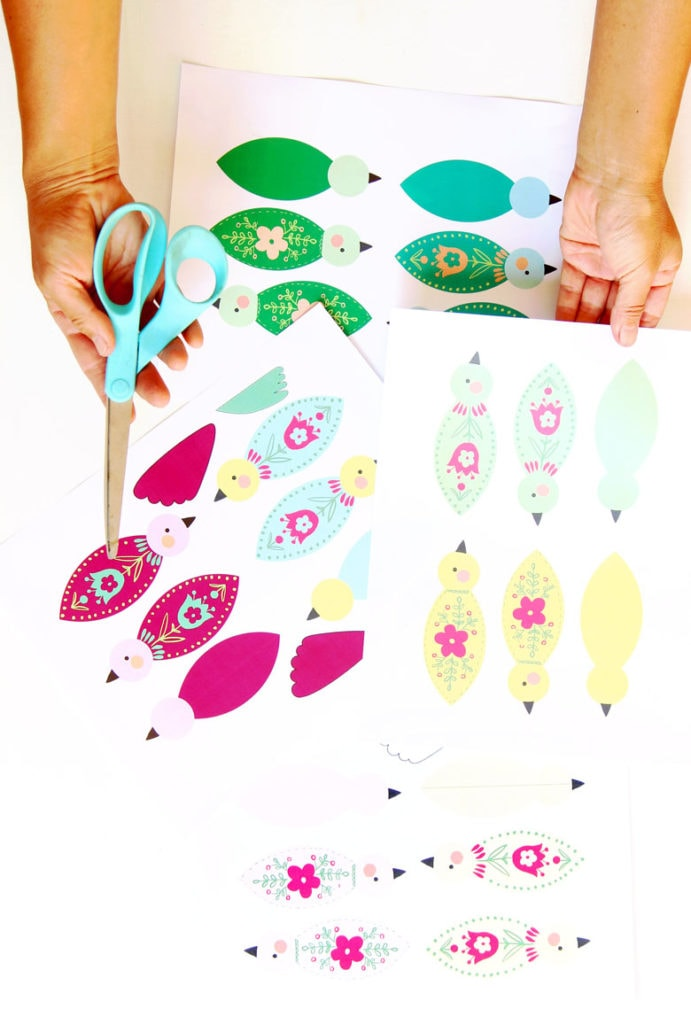 free patterns to make 3D paper birds Christmas ornaments