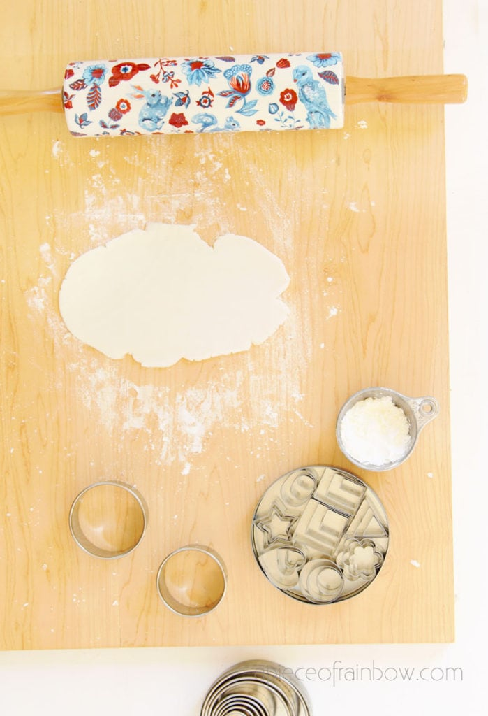 rolling homemade clay dough for crafts