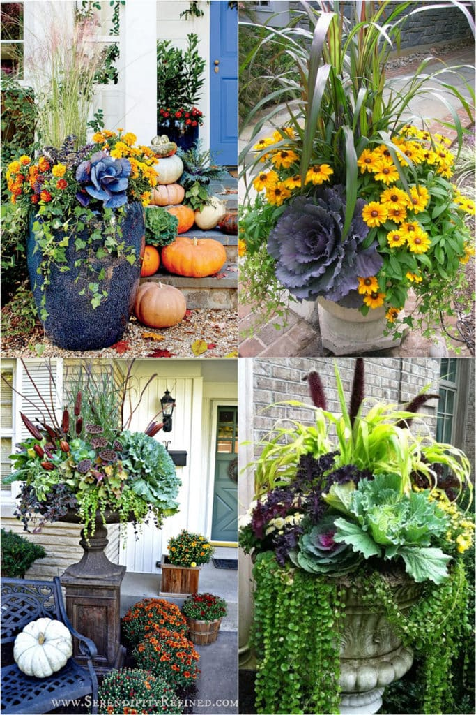 22 beautiful fall planters & outdoor fall decorations! How to plant colorful front porch fall flower pots with mums, pumpkins, kale, & more!