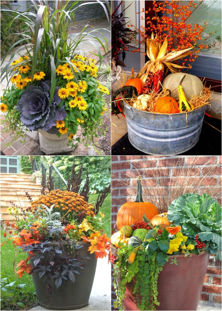 beautiful fall planters & outdoor fall decorations! How to plant colorful front porch fall flower pots with mums, pumpkins, kale, & more!