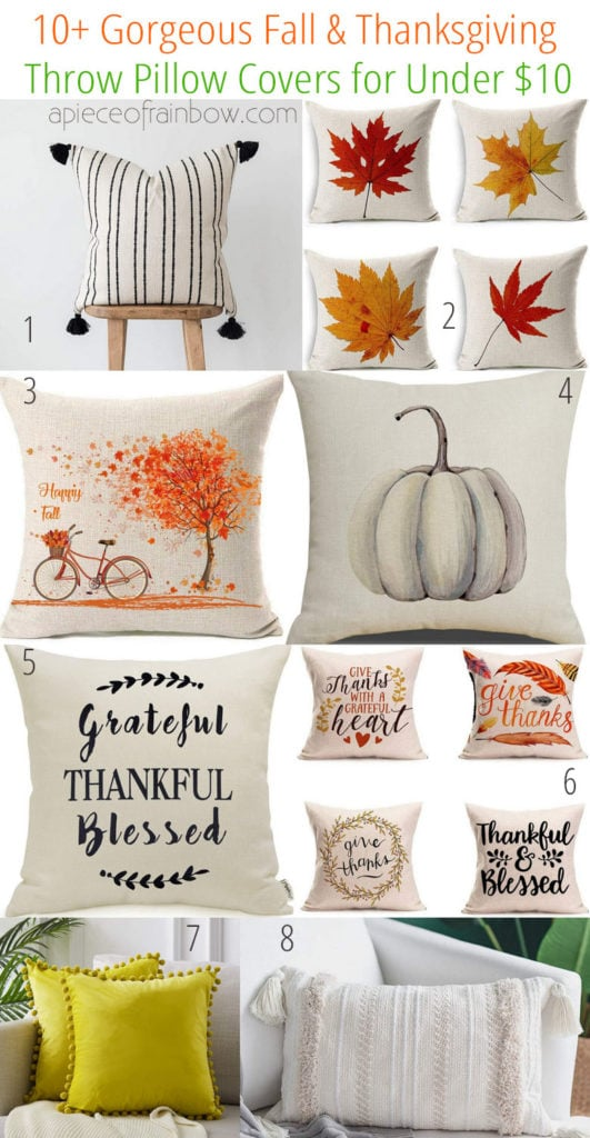 10+ beautiful Thanksgiving and fall throw pillows & covers from Amazon for less than $10 each! Perfect farmhouse & easy seasonal home decor for living room and bedroom!