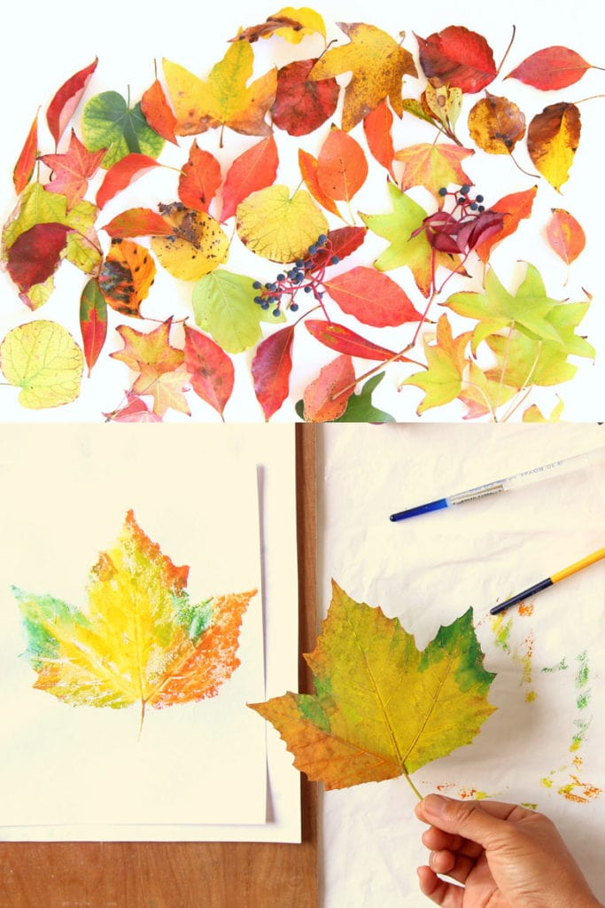 how to make leaf prints with real leaves and paint, printing on paper or fabric